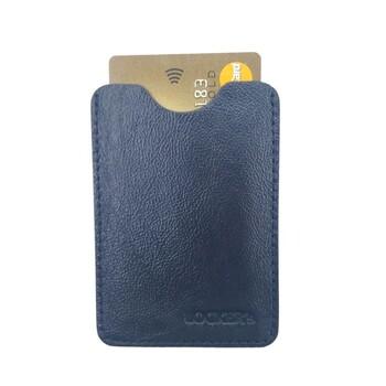 Чехол для пластиковых карт для защиты от считывания из натуральной кожи черный